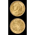 Elveția 20 Franci Elvețieni Aur Vreneli