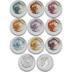 Australia Anul Dragonului - Lunar Series 2 - Set de 10 monede 1oz Argint 2012