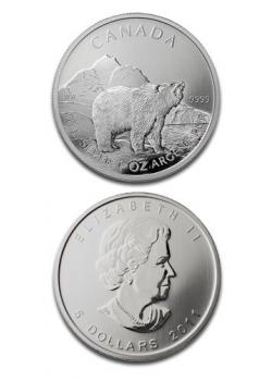 Canada Grizzly Bear 1oz Argint Wildlife Series 2011